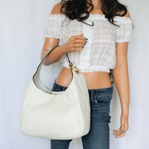 Michael Kors Fulton Shoulder Hobo Bag Optic White